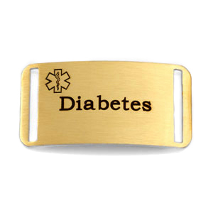 Gold Plated Steel Medical ID Tag for Diabetic Bracelets