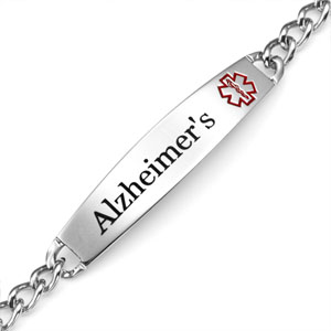 Slim Style Alzheimers Bracelet with Optional Safety Clasp