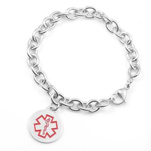 Lauretta Round Charm Medical ID Bracelet