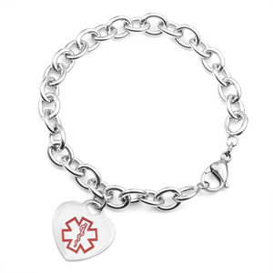 Ceanna Heart Charm Medical ID Bracelet