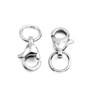 Pair Stainless Lobster Clasps with Jump Rings
