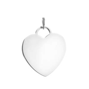 Engravable Silver Heart Pendant for Necklace