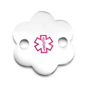 Stainless Steel Flower Pink Medical ID Tag