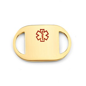 1 Inch Gold Plated Medical ID Tag for Custom Bracelets
