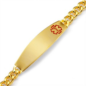 Ryker Gold Nine Inch Steel Medical ID Bracelet
