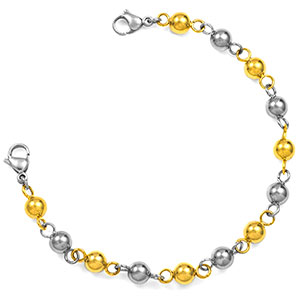 Steel & Gold Beaded Medical Alert Bracelet Without Tag 6 Inches