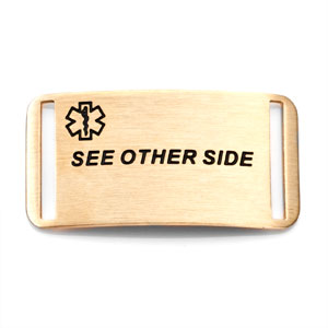 See Other Side Gold Medical ID Tag