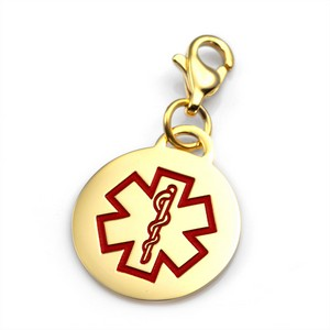 Gold and Stainless Round Medical Alert Charm