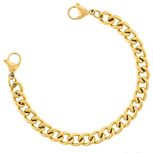 Gold Thick Curb Link Medical Bracelets Chain