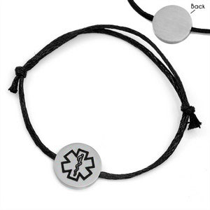 Black Cotton Medical Alert Bracelet for Men & Women