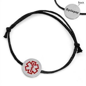 Black Cotton Epilepsy Bracelet for Women & Men