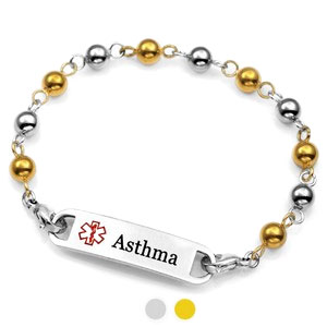 Gold & Silver Beaded Asthma Bracelets for Women