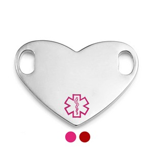 Colored Options Heart Shaped Medical Tags