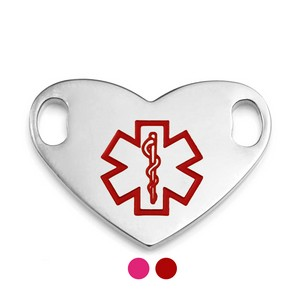 Red or Pink Heart Shaped Medical ID Tag 1.5 in