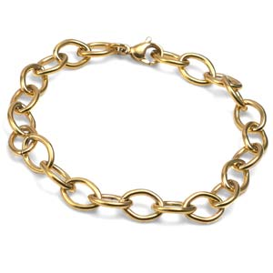 Gold Plated Stainless Bracelet for Charms 7 Inch