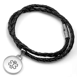 Kallie Wrap Leather Medical ID Bracelet