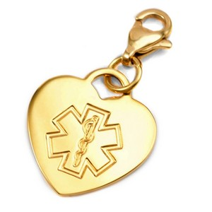 Stainless Gold Heart Outlined Medical ID Charm