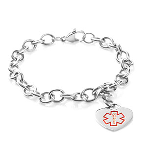 Medical Stainless Cable Link Heart Charm Bracelet 7.5 In