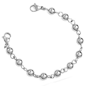 6mm Bead Link Bracelet Polished Stainless Steel 5.5 In (No Tag)