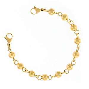 Yellow Gold Beaded Medical  Bracelets for Medical Tags