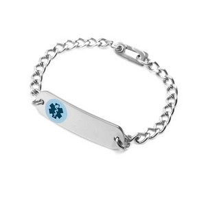 Blue Medical Bracelet 6.5 In with Safety Clasp