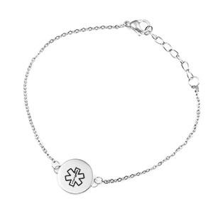 Silver Medical Bracelet 1/2 inch Round Charm