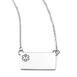 Silver Rectangle Medical ID Necklace