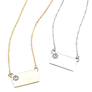 Modern Bar Medical ID Necklaces for Women