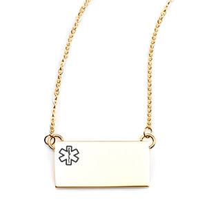 Gold Rectangle Medical ID Necklace