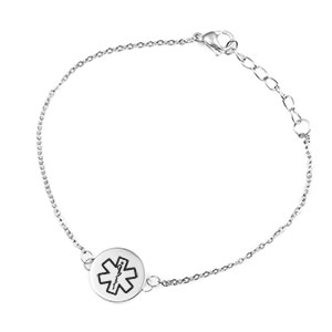 Silver Round Charm Medical ID Bracelet