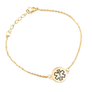 Gold 3/4 inch Charm Medical ID Bracelet for Women
