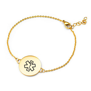 Custom Gold Medical Alert Bracelet for Women