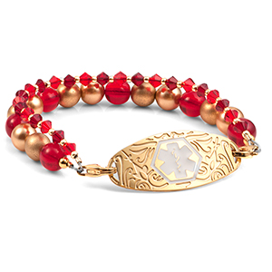 Crystal Gold and Red Bead Medical ID Bracelet with Designer Tag