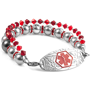 Crystal Beaded Medical Alert Bracelet with Designer Tag