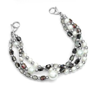 Deep Purple Bead and Pearl Stretch Bracelet for Medical Tags