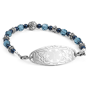Pretty in Blue Womens Medical Beaded Bracelet