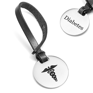 Diabetes Alert Caduceus Black Leather Bag Tag