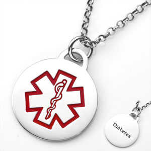 Round Steel Diabetic Jewelry Pendant