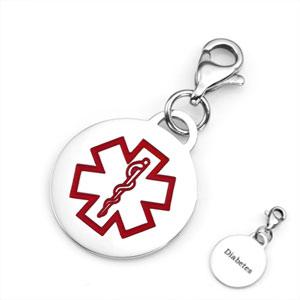 Diabetic Bracelets Stainless Round Medical Alert Charm