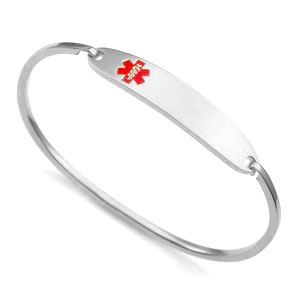 Lesly Silver Bangle Medical ID Bracelets