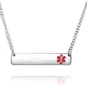Red Silver Bar Medical ID Necklace for Women