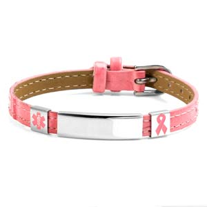 Pink Breast Cancer Ribbon & Medical ID Bracelets