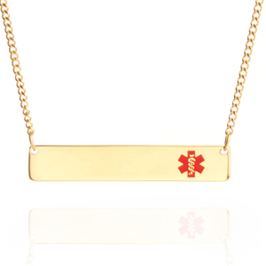 Gold Modern Bar Medical ID Necklace for Women