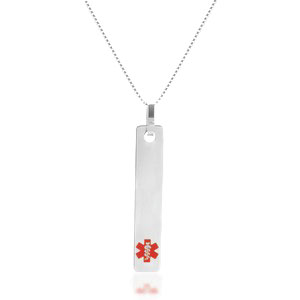 Slim Vertical Bar Medical ID Necklaces for Women