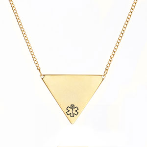 Triangle Medical Necklace Gold