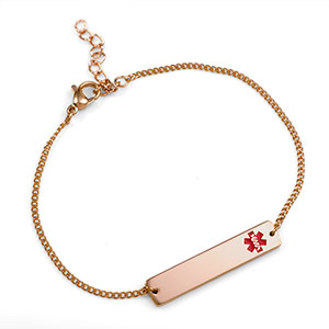 Medical Alert Bracelets >> Rose Gold Bar Medical Alert Bracelets For Women