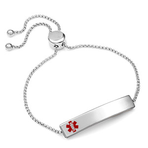 Stainless Bolo Medical Alert Bracelet for Women