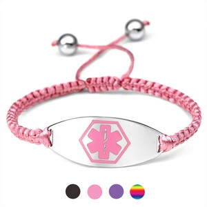 Drawstring Macrame Medical ID Bracelets