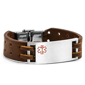 8 Inch Bravo Medical Brown Leather ID Bracelet