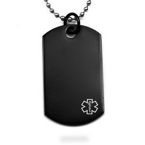 Engravable Black Steel Medical Dog Tags with Chain